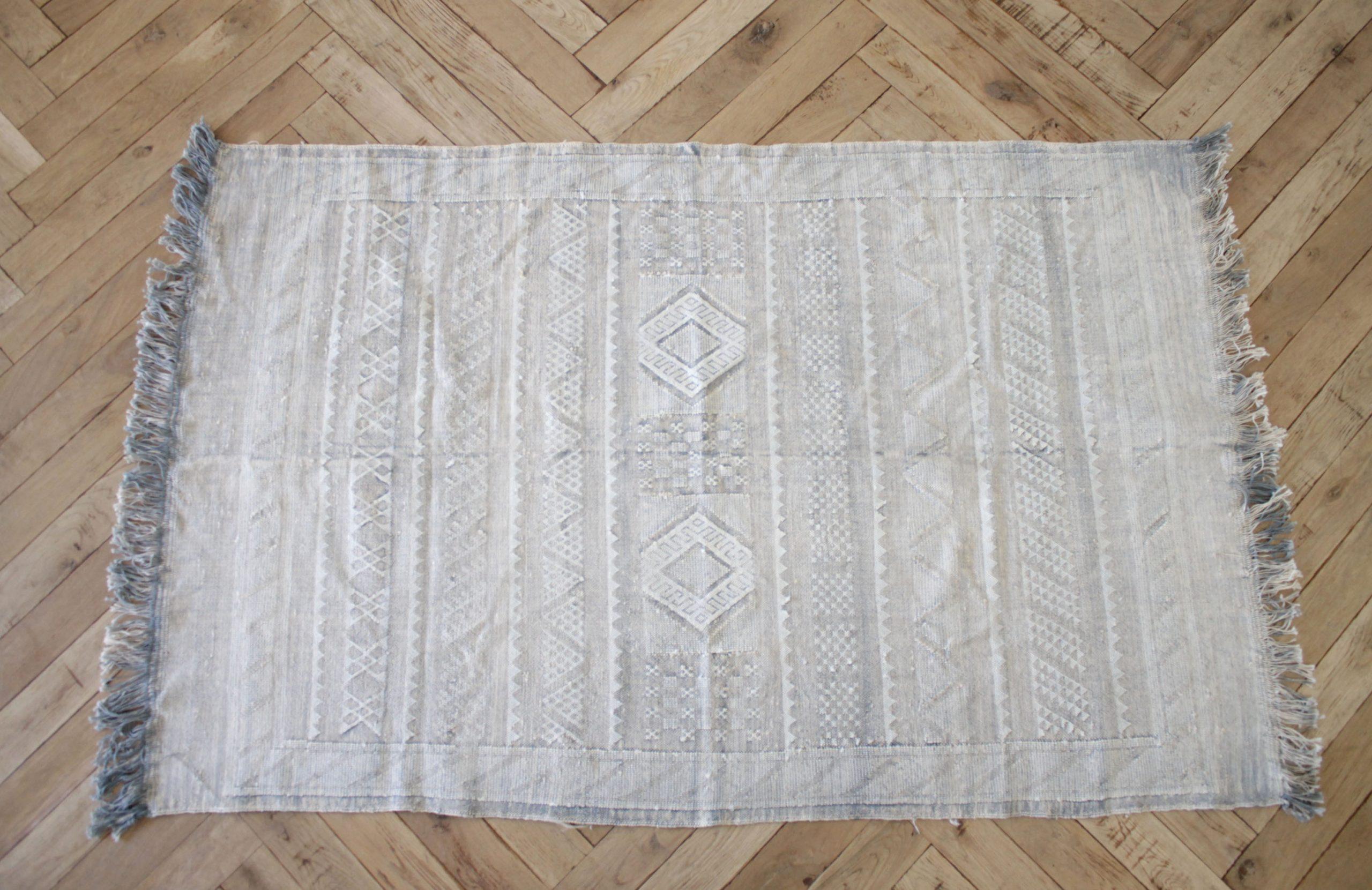 Vintage Moroccan Cactus Silk Rug with Fringe
