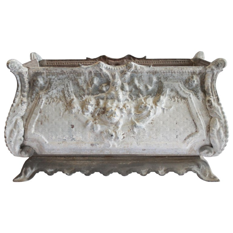 20th Century Iron Jardinière Planter with Floral Details