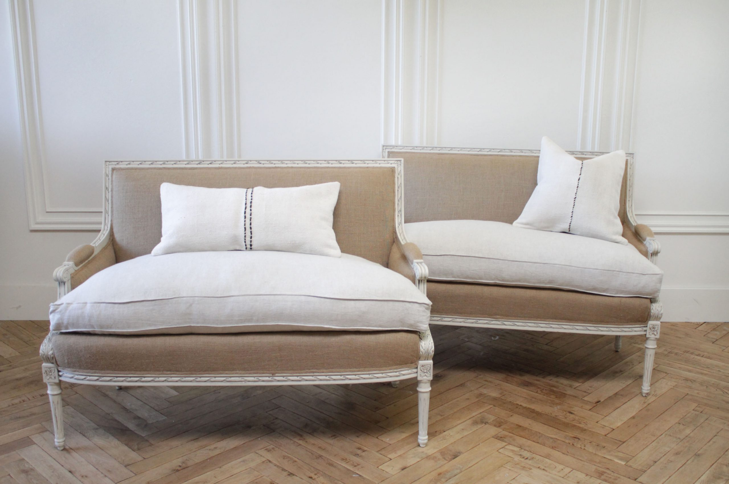 Painted and Upholstered Vintage Louis XVI Style Settees