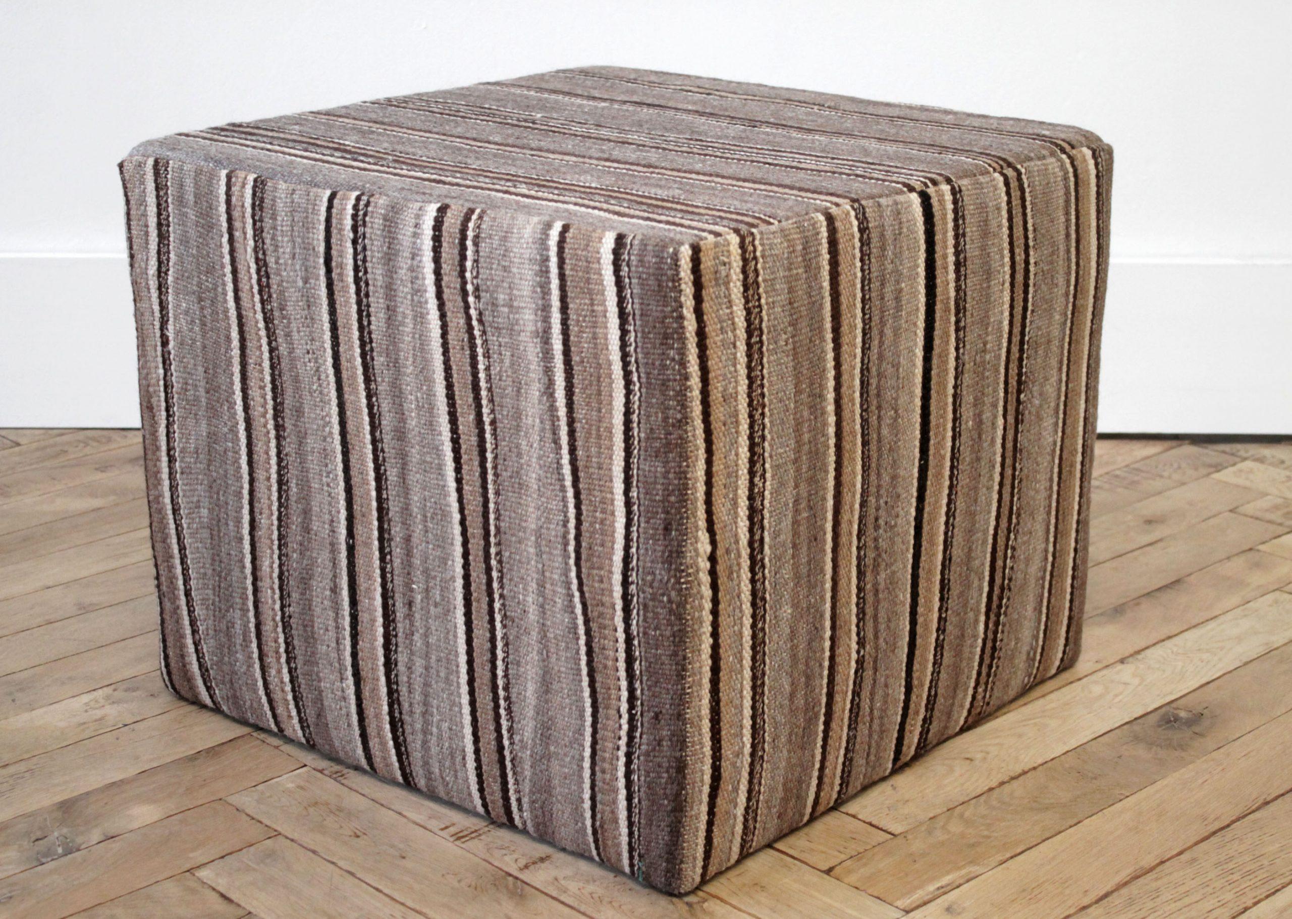 Vintage Rug Cube Ottoman in Warm Brown Tones