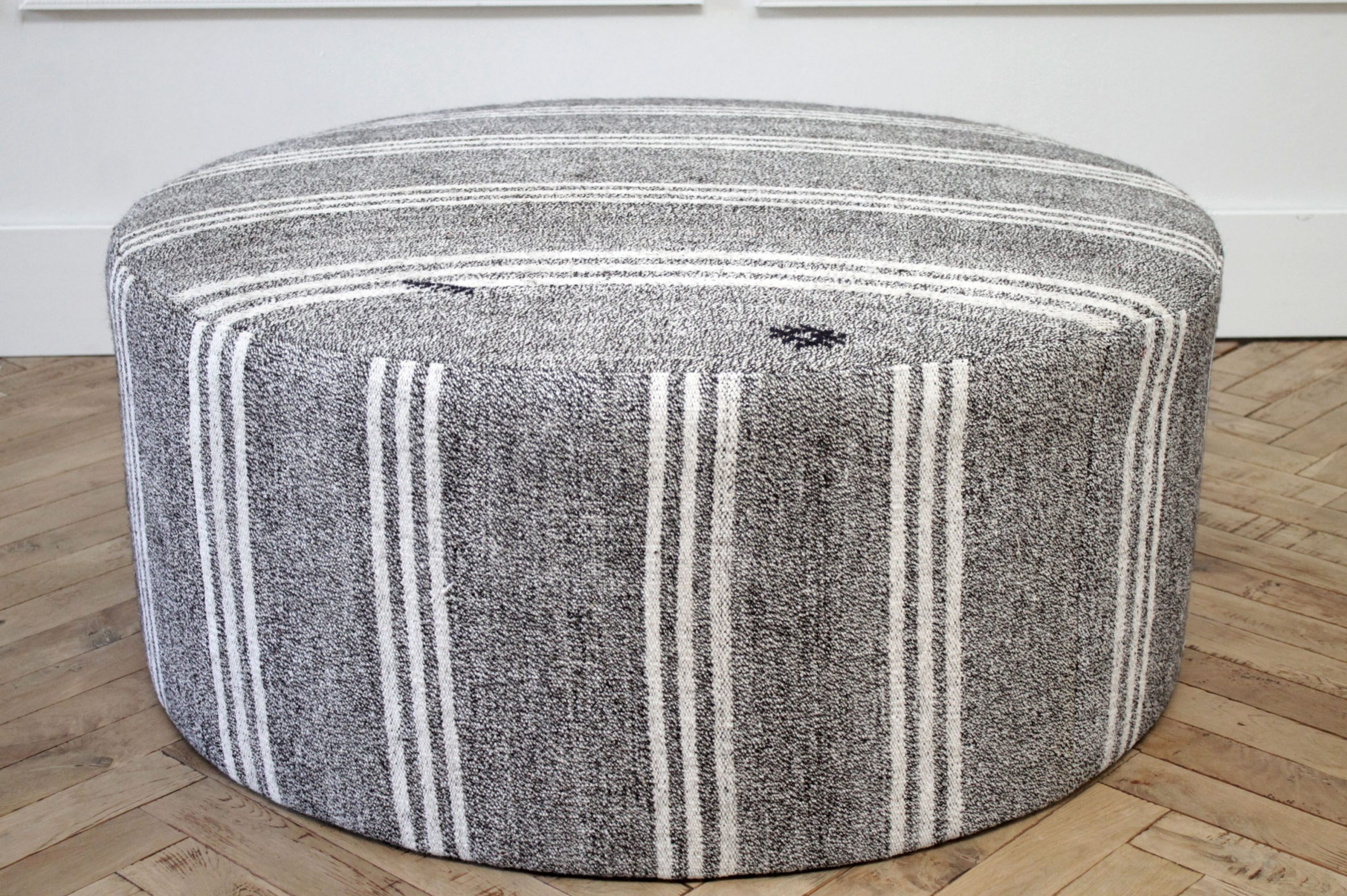 Custom Made Vintage Turkish Rug Round Cocktail Ottoman Coffee Table