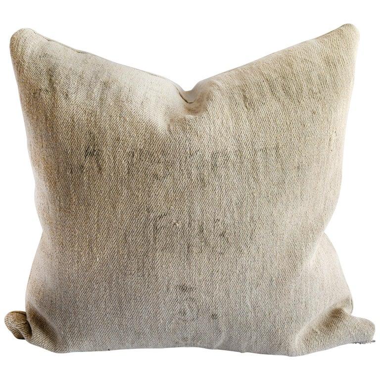 Original Stamped Patchwork Grain Sack Pillow with Linen No 5