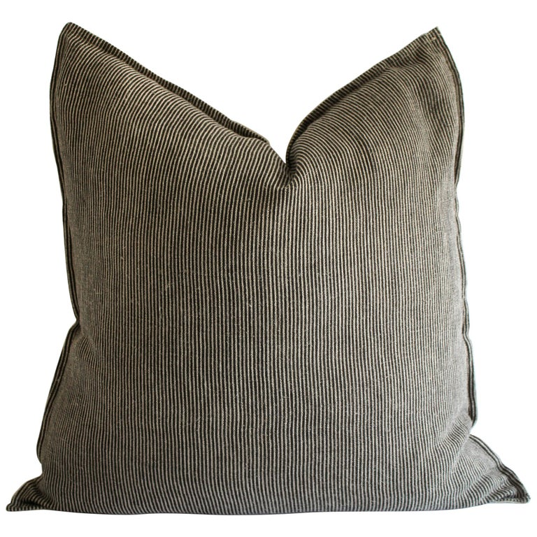 Black and Tan Minimalist Natural Linen Striped Pillow
