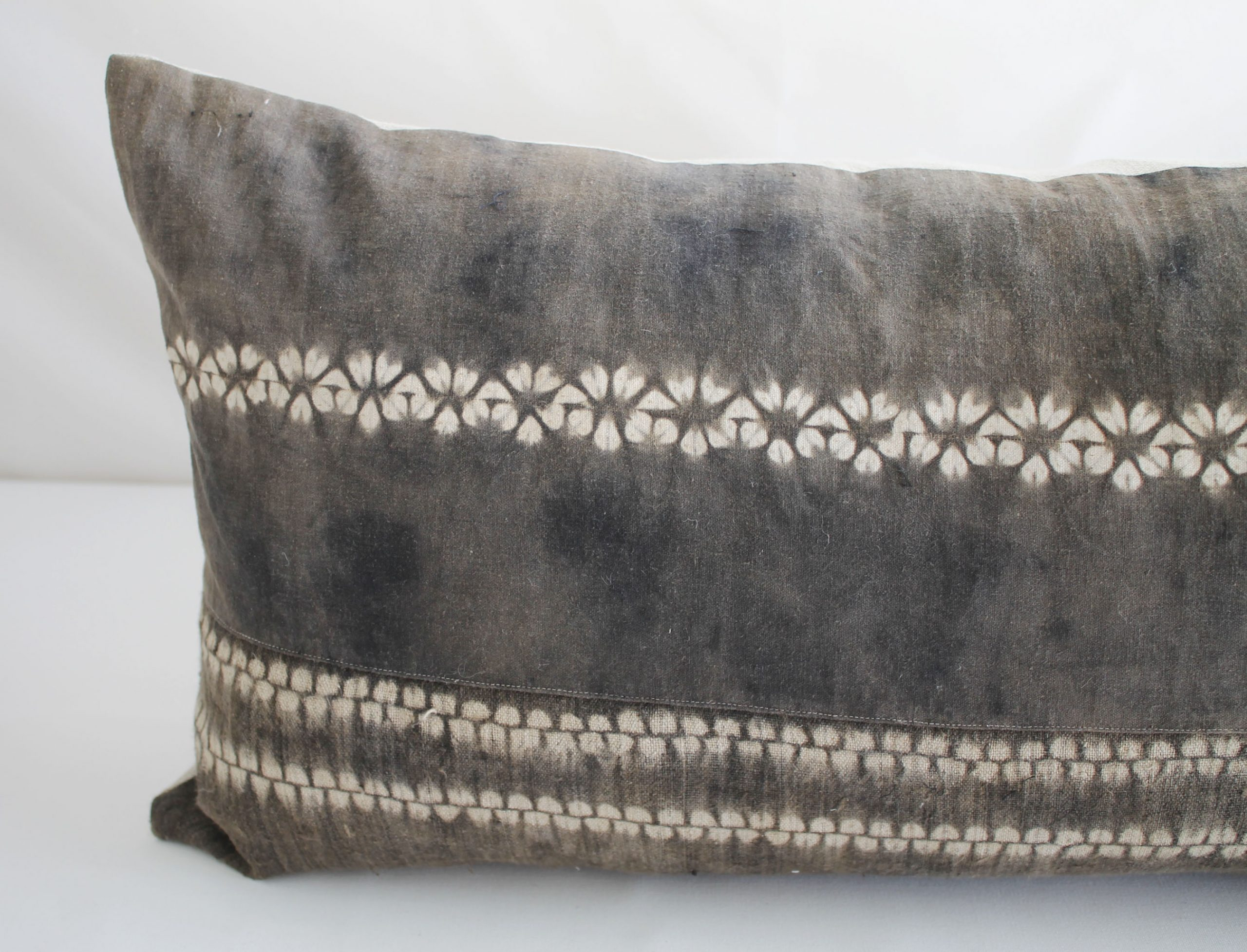 Vintage Bleached Brown Batik Textile Lumbar Pillow