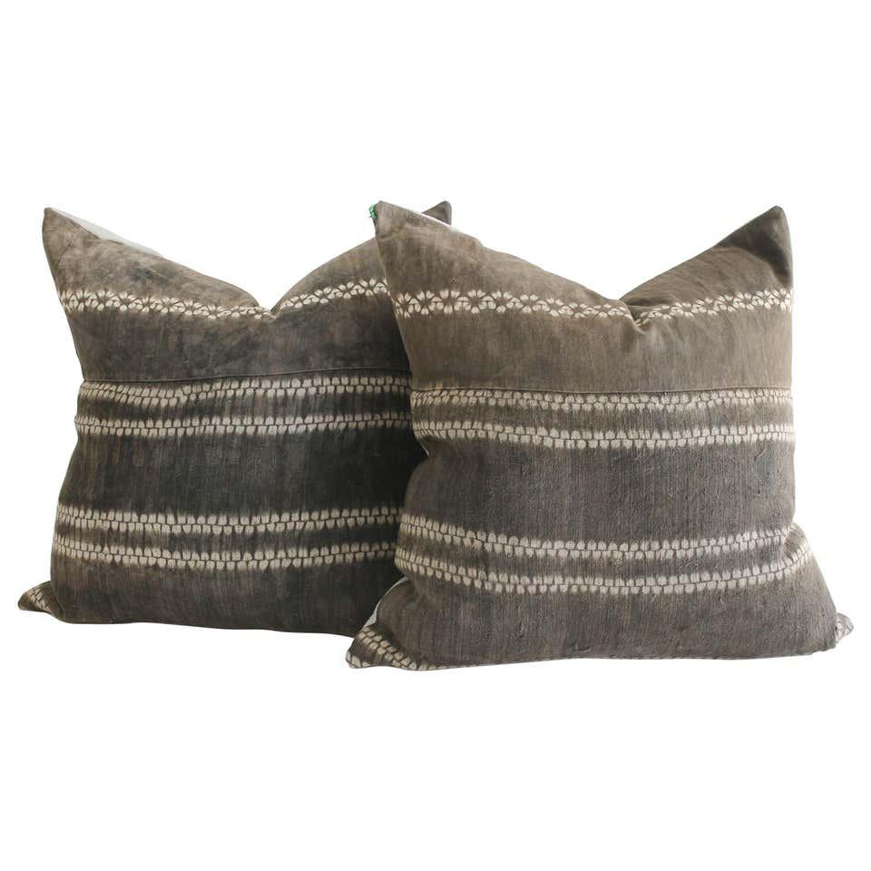 Vintage Faded Brown Batik Pillows