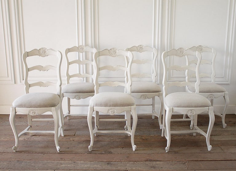 Set of 6 Painted and Upholstered French Country Style Dining Chairs