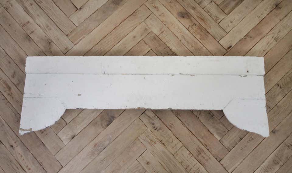 Antique Original Painted Architectural Header with Ribbon Swag