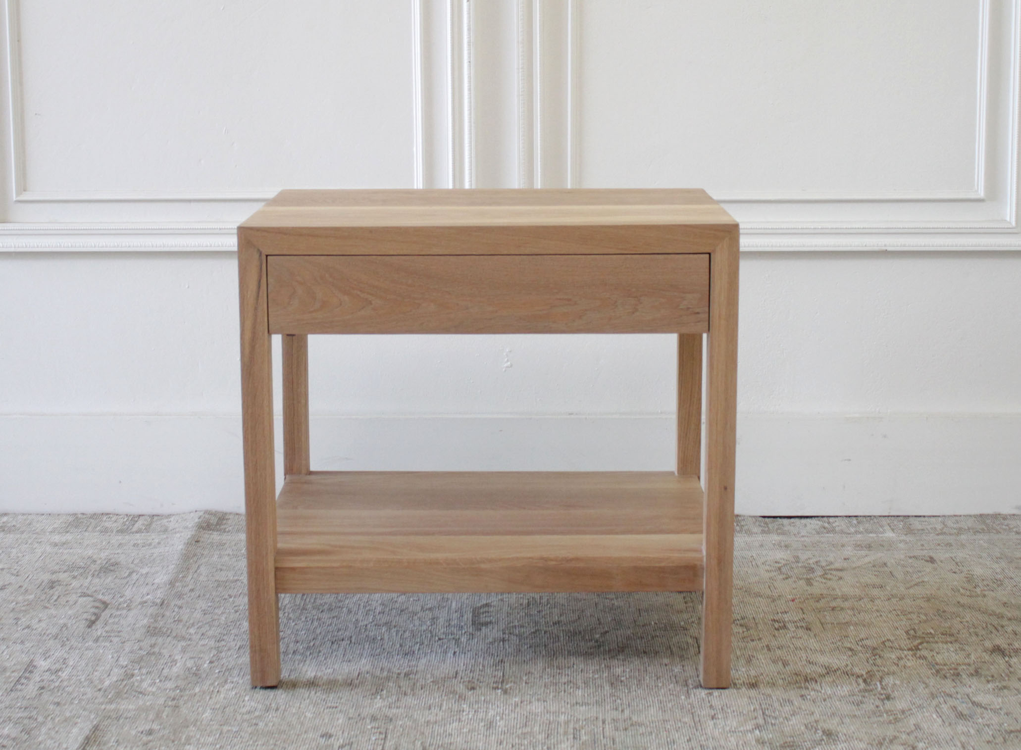 Custom Made White Oak Nightstand with Single Drawer