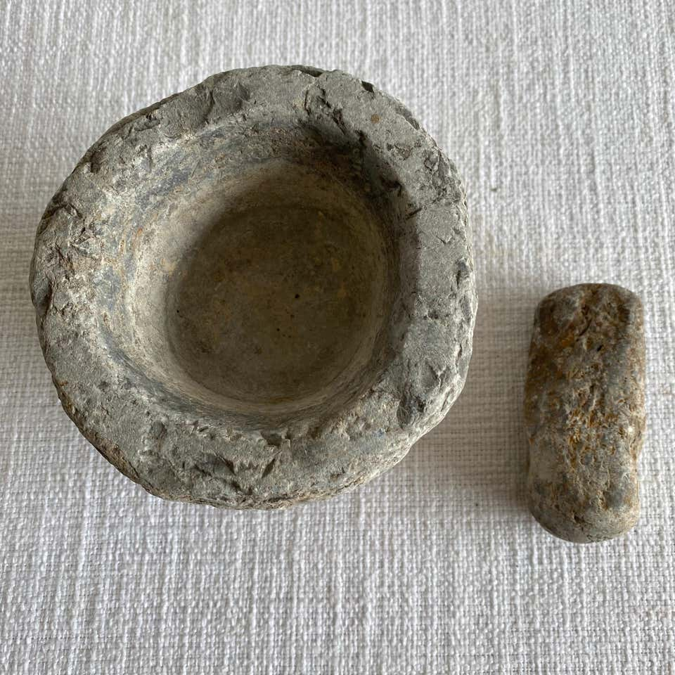 Antique Mortar and Pestle Stone Bowl Set