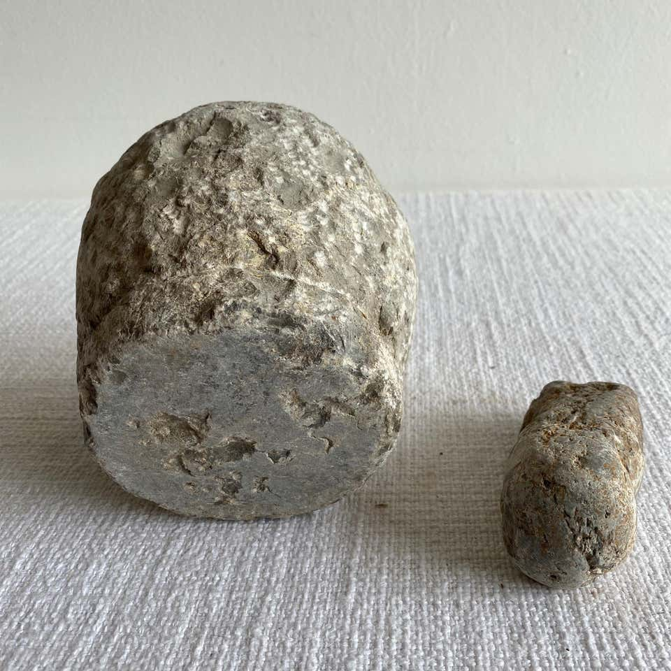 Antique Mortar and Pestle Stone Bowl Set