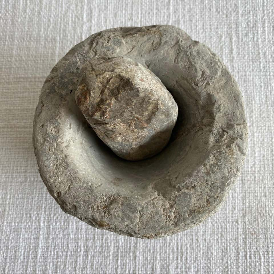 Antique Stone Mortar and Pestle Bowl Set