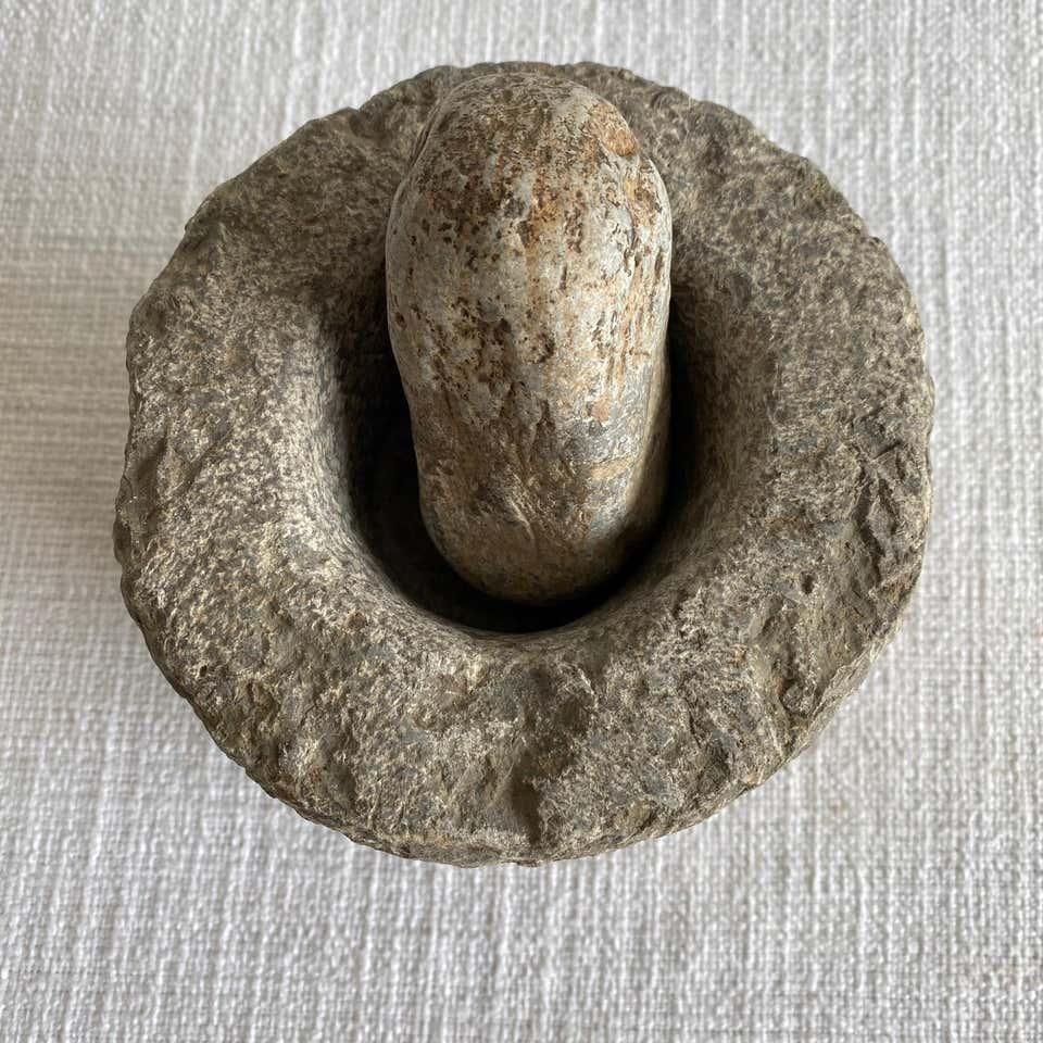 Antique Stone Mortar and Pestle Set