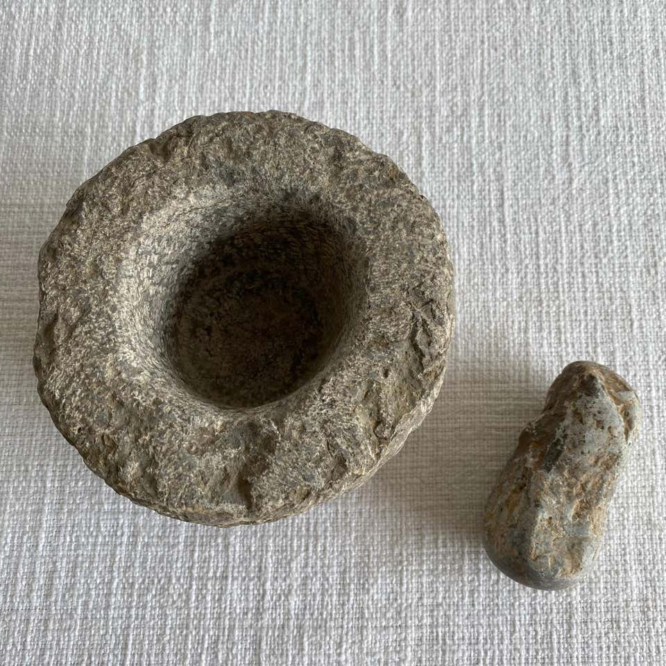 Antique Stone Mortar and Pestle Set