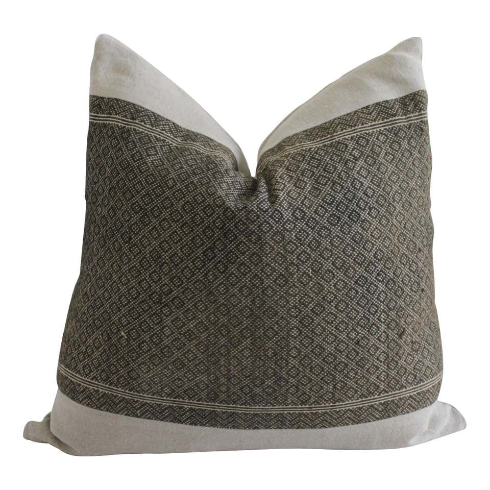 Antique Dark Brown Tribal Block Pillow with Natural Irish Linen