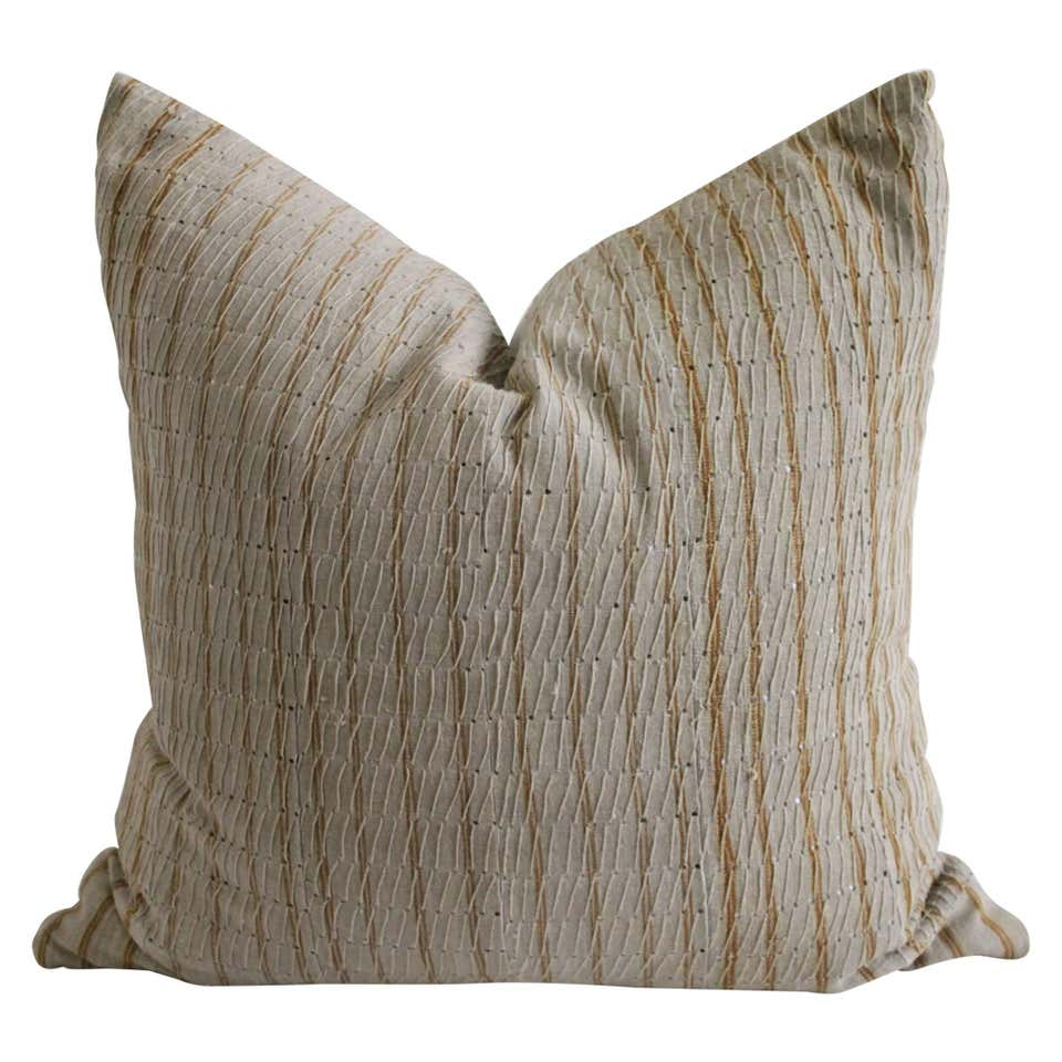 Antique Linen and Cotton Textured Pillow Sham Natural with Brown Stripe