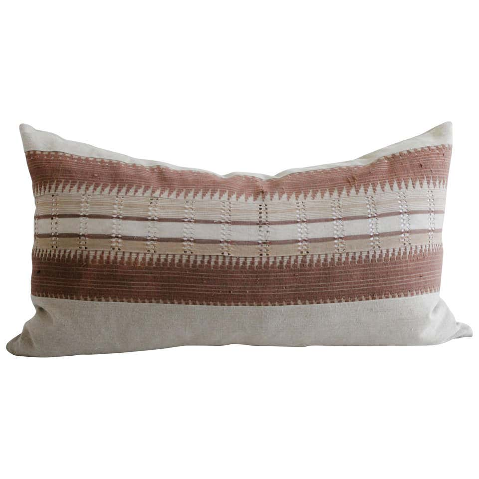 Vintage Hand Made Tribal Block Linen King Size Lumbar Pillow