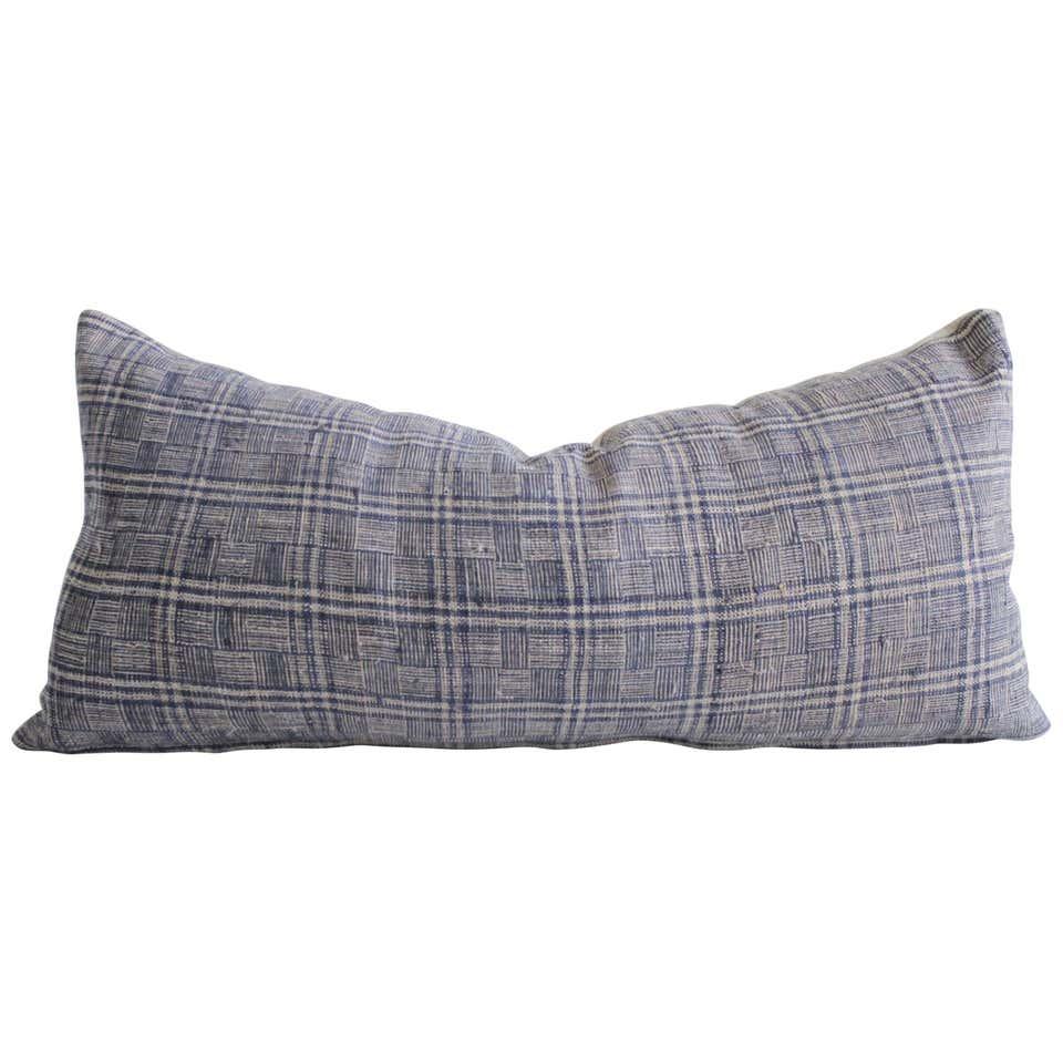 Antique Homespun Linen Lumbar Pillows Vintage Indigo and Natural Check Pattern