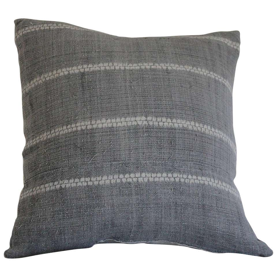 Antique Grey Shibori Style Accent Pillow