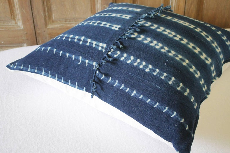 Antique Indigo Blue Batik Accent Pillow with Fringe