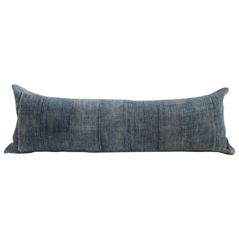 Vintage Indigo Mud Cloth Lumbar Roll Pillow