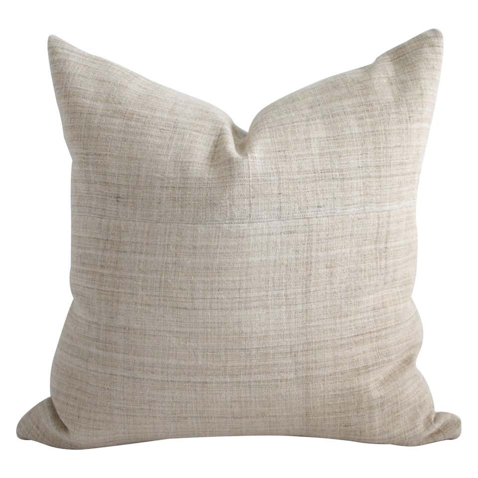 Vintage Homespun Linen Textile Pillow