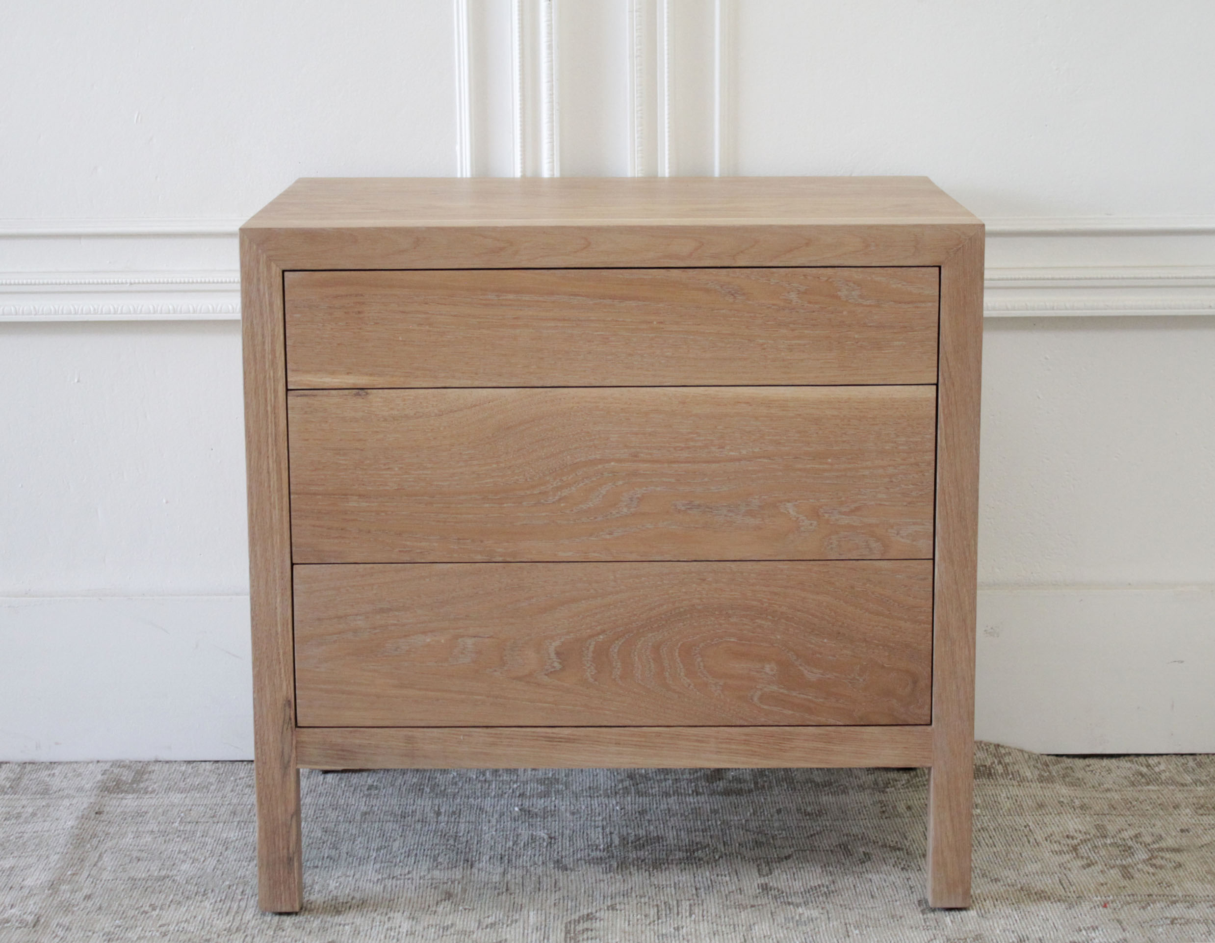 Custom Made White Oak Nightstand with Three Drawers