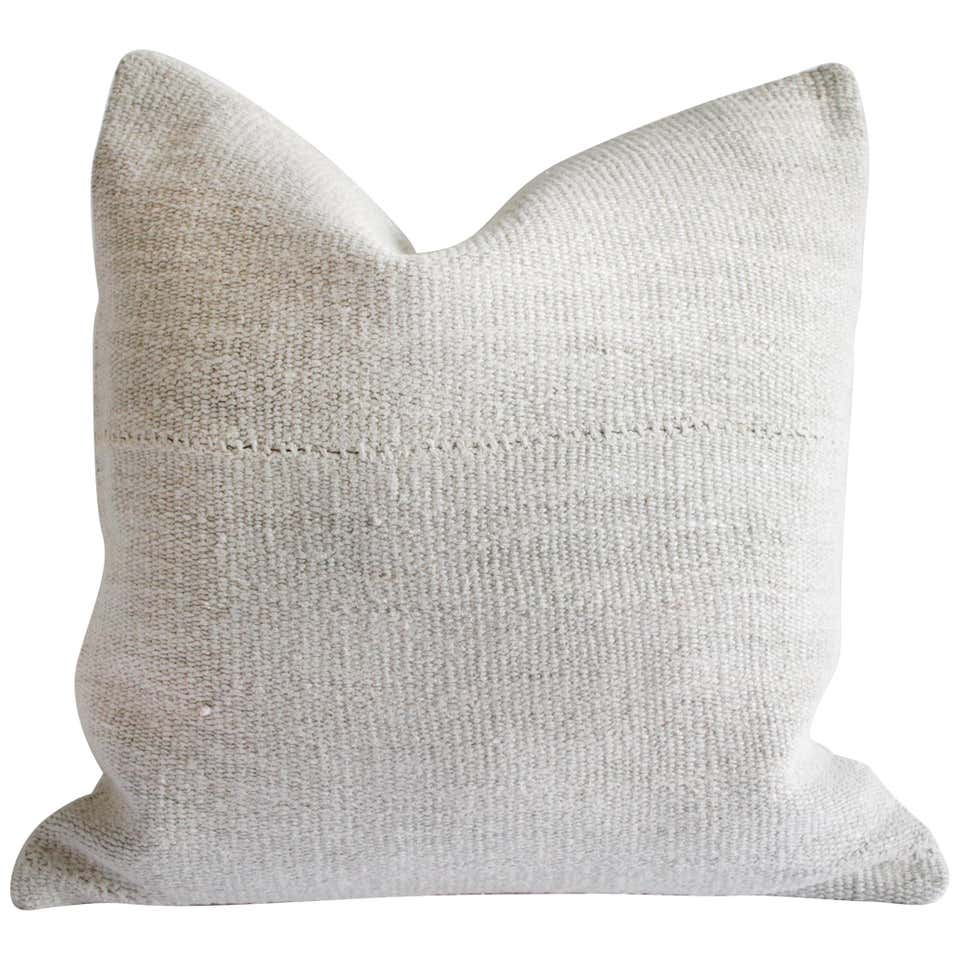 Vintage Nubby White Hand Woven Minimalist Style Pillow