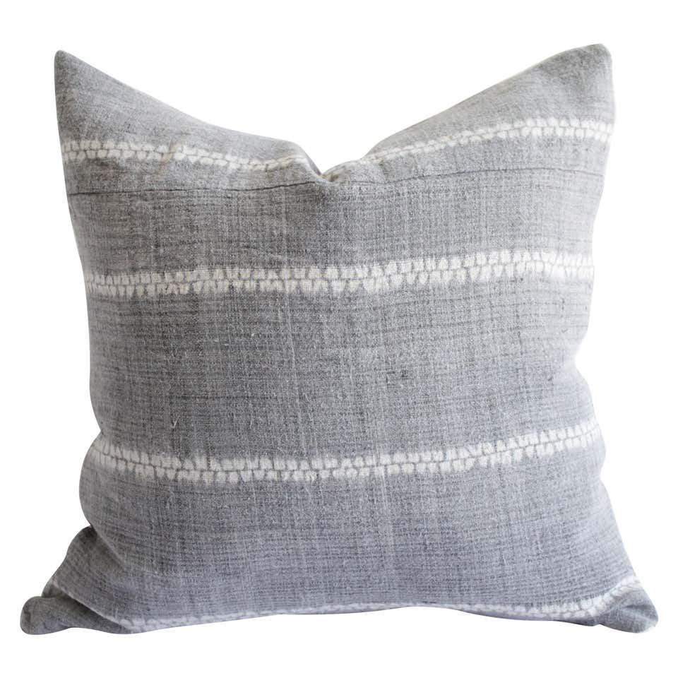 Vintage Woven Gray Linen Pillow with Off-White Pattern