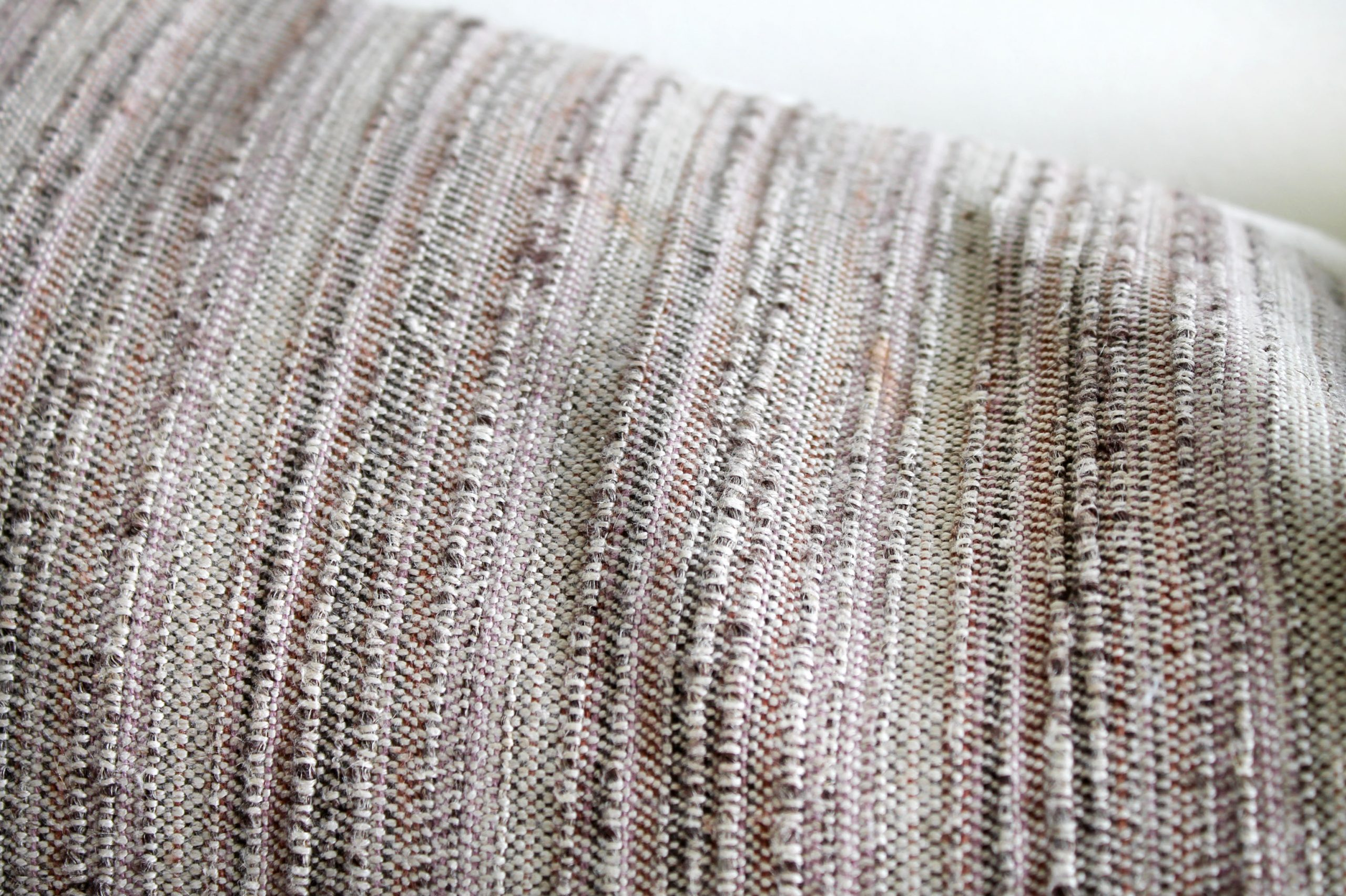 Vintage Textile Lumbar Pillow in Mauve and Browns