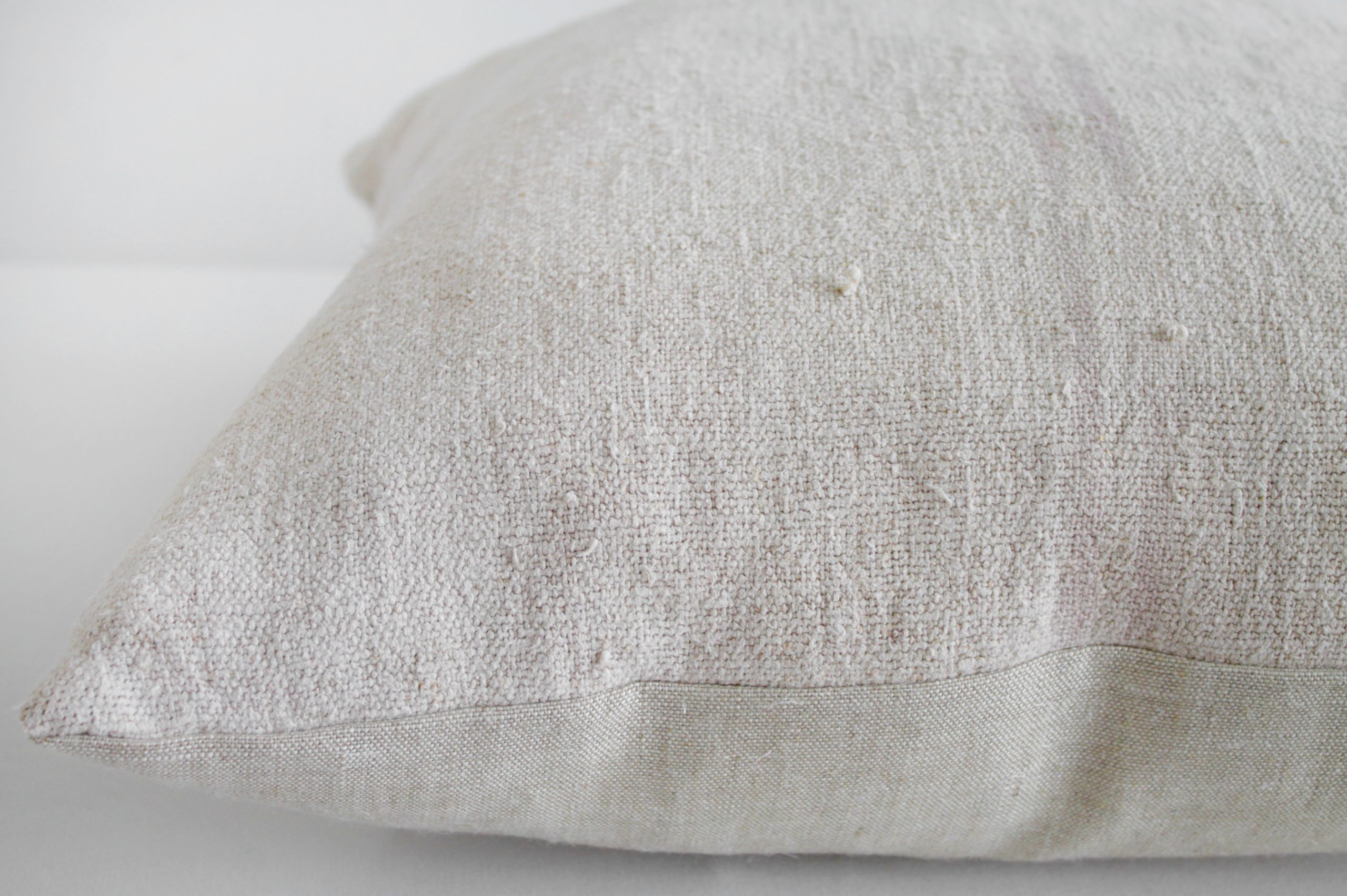 Vintage European Grain Sack Hemp Pillow with Pale Pink Stripes