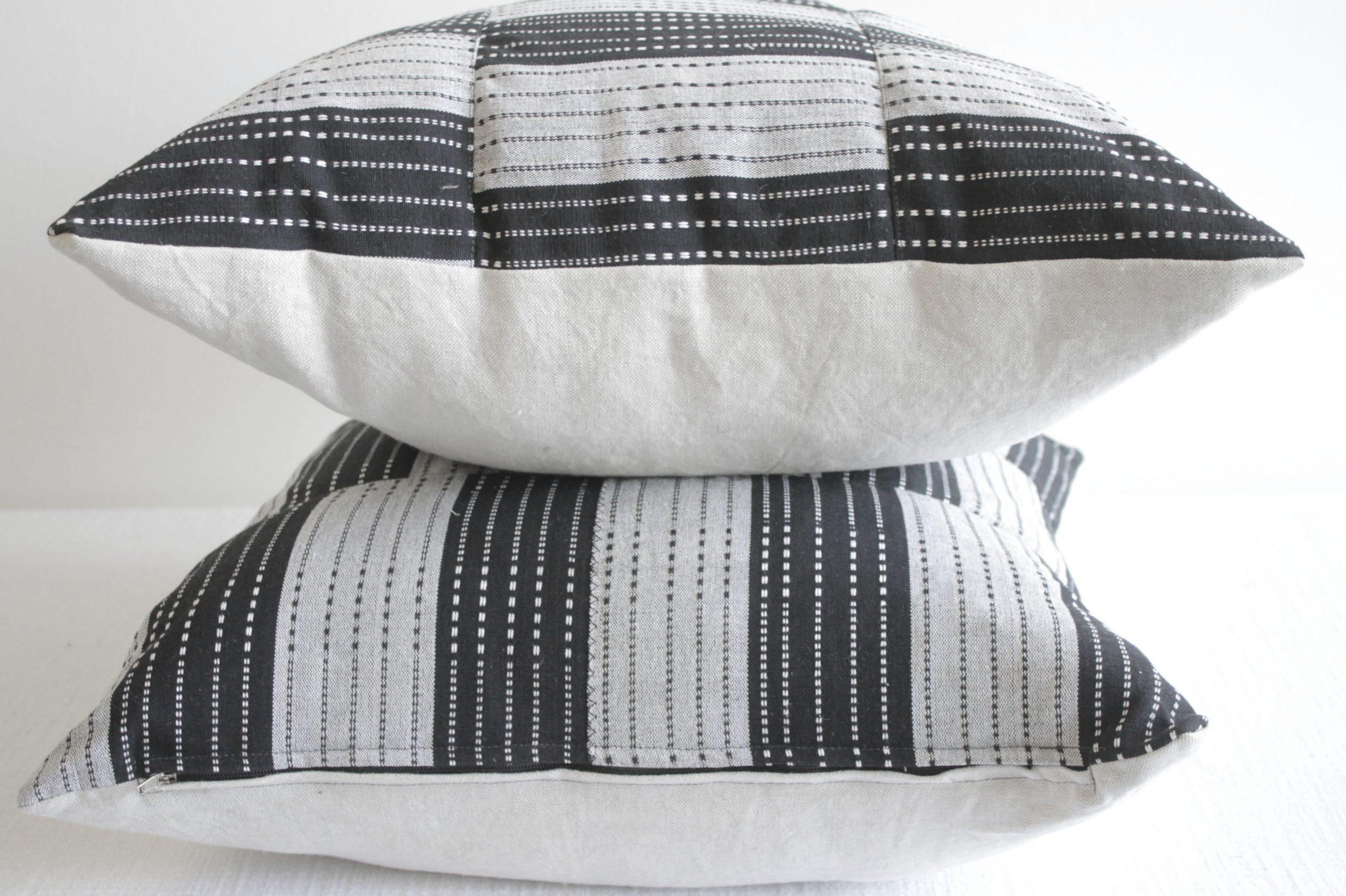 Vintage Black and Natural Color Block Pillows