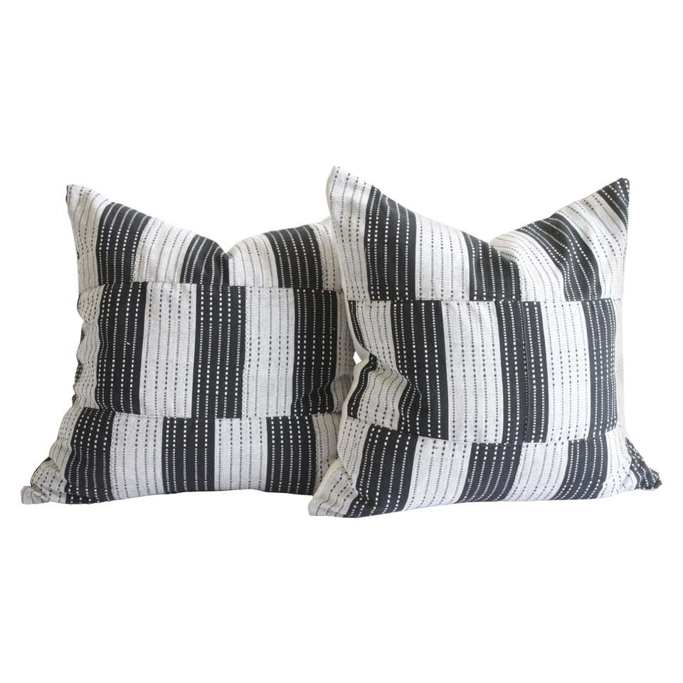 Vintage Black and Natural Color Block Pillows