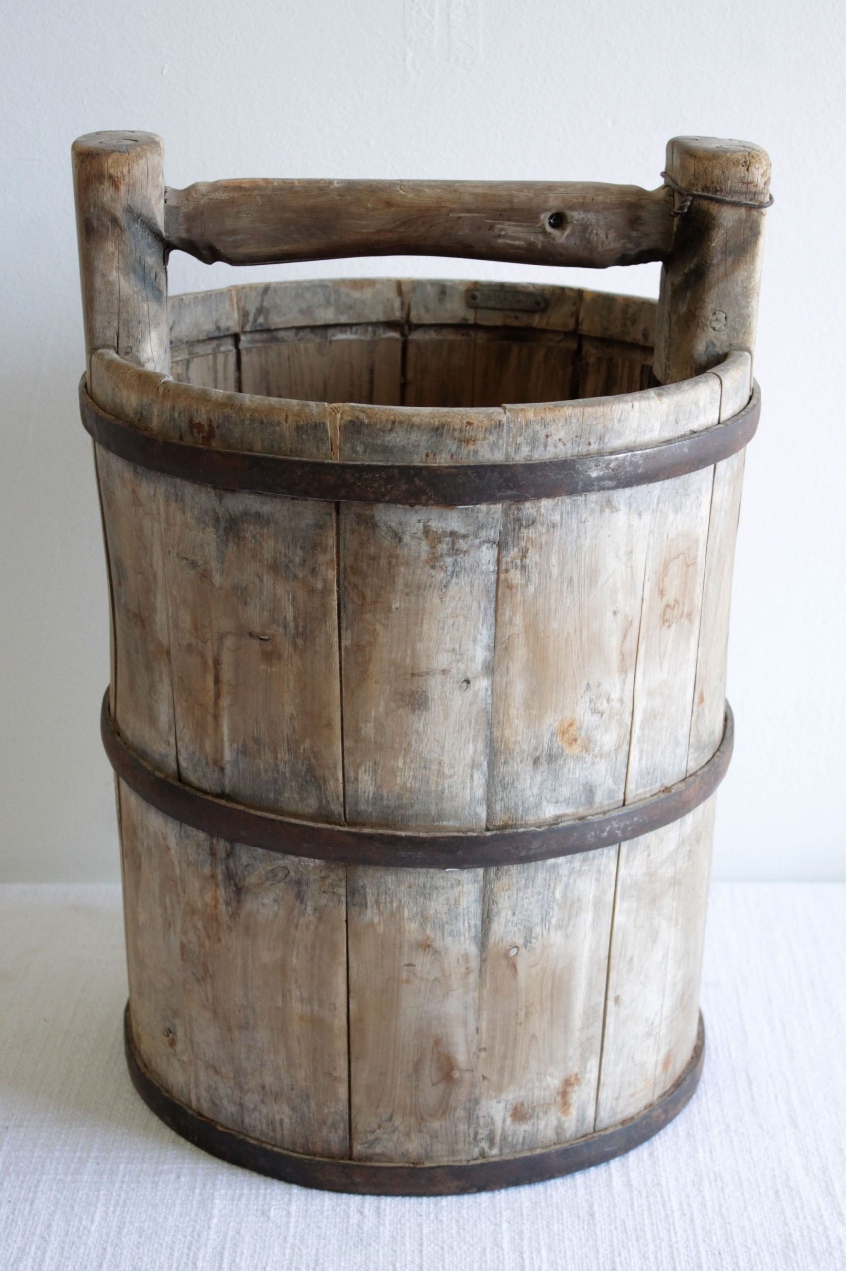 Vintage Weathered Cypress Wood Garden Buckets with Handle