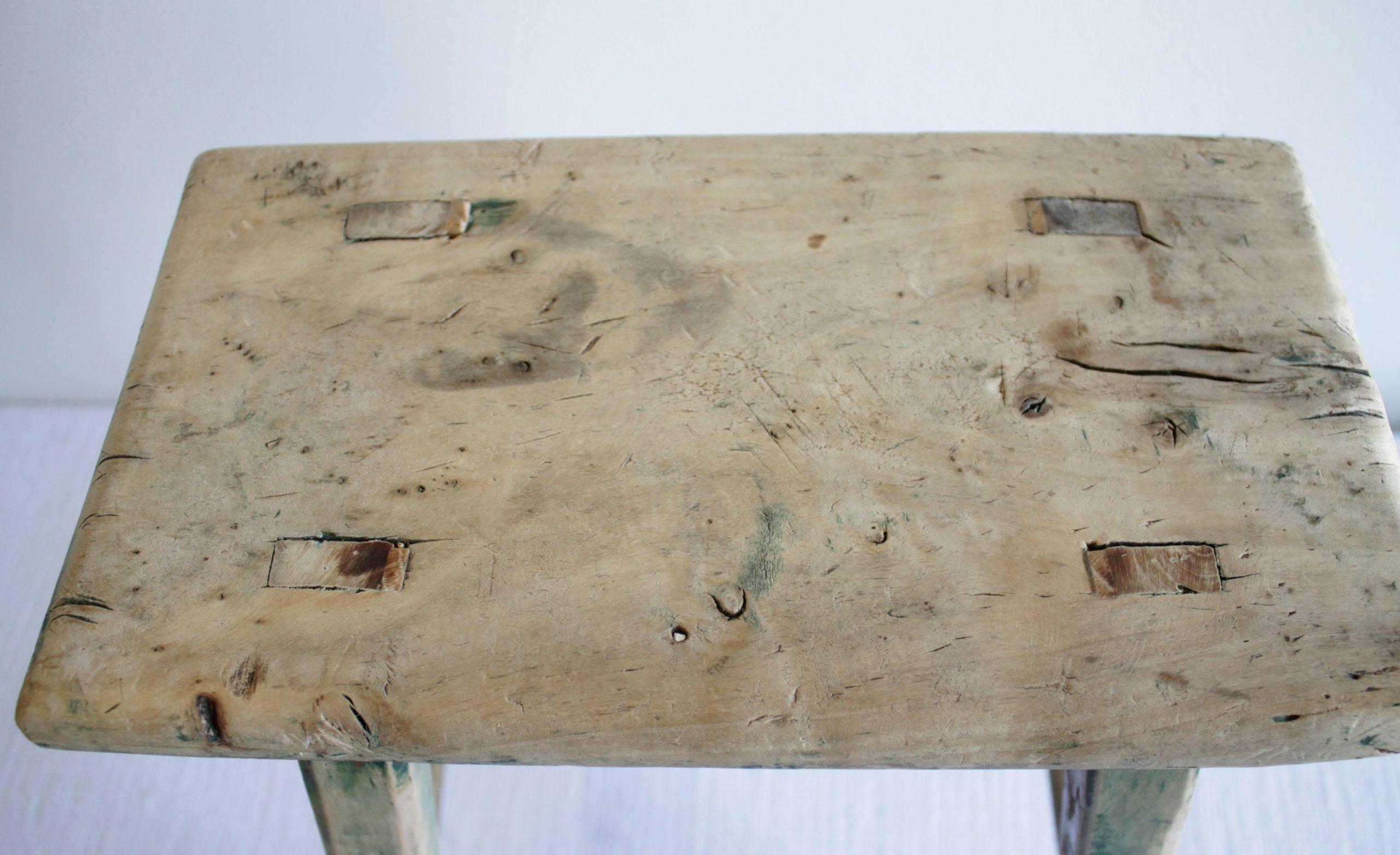 Antique Elmwood Stool Bench Petite Size