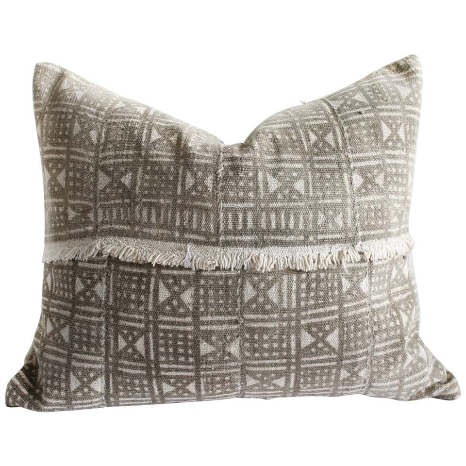 Vintage Mali Cloth Pillow in Natural and Brown with Original Fringe Detail