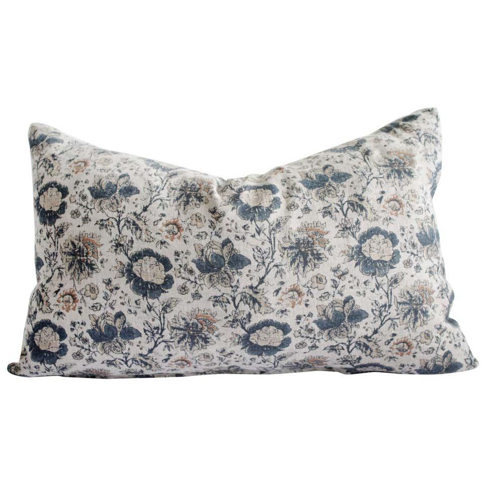 Custom European Linen Roses Lumbar Pillow