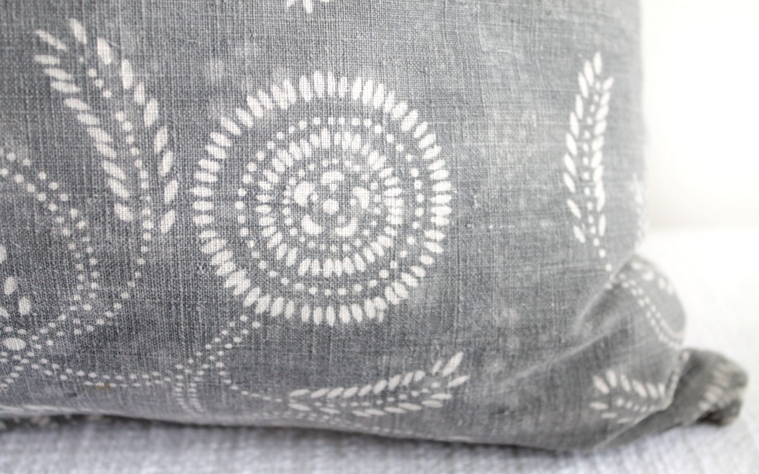 Vintage Tribal Gray and Natural Textile Pillow