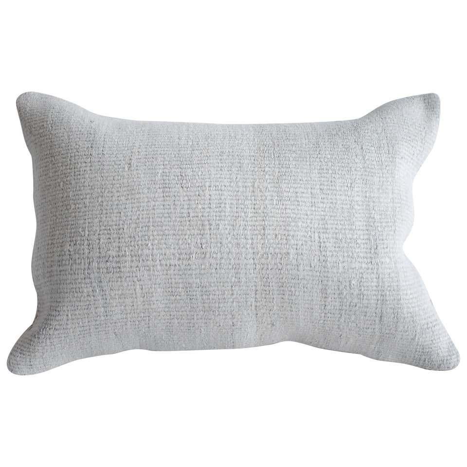 Natural Creamy White Turkish Hemp Rug Lumbar Pillow