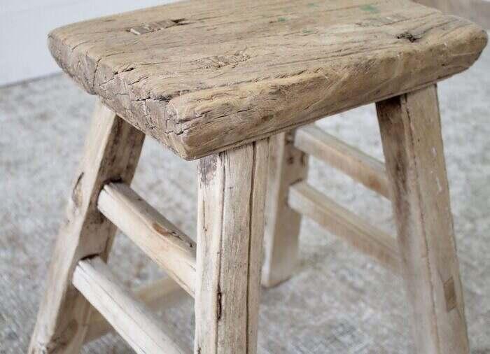 Vintage Antique Elmwood Bench Stool or Side Table