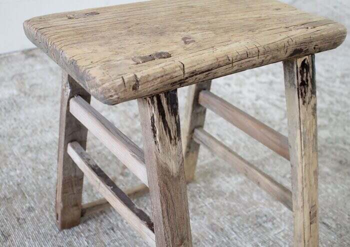 Vintage Antique Style Elm Wood Side Table or Stool