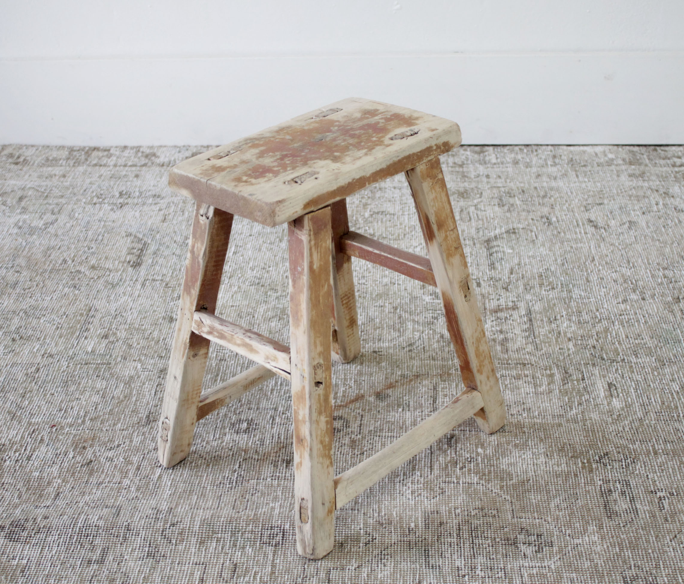 Vintage Antique Elm Wood Side Table or Stool