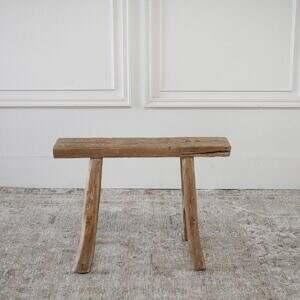 Vintage Antique Petite Elm Wood Bench