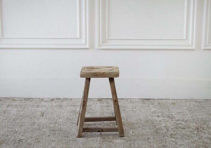 Vintage Antique Elm Wood Stool or Side Table
