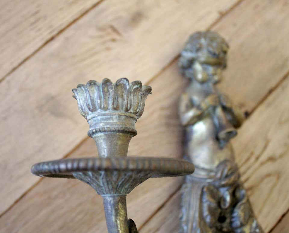 Antique Brass French Sconce with Cherub