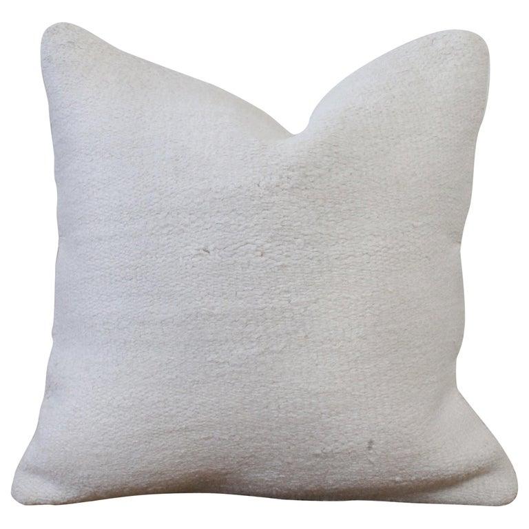 Vintage Woven Turkish Hemp Pillow in White