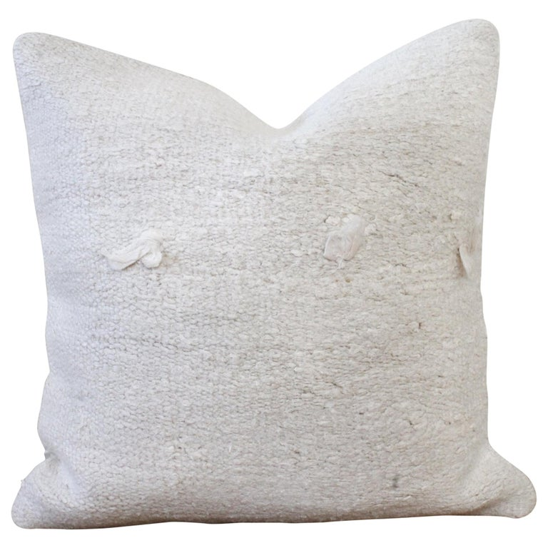 Vintage Turkish Hemp Rug Pillow in off White with Knots