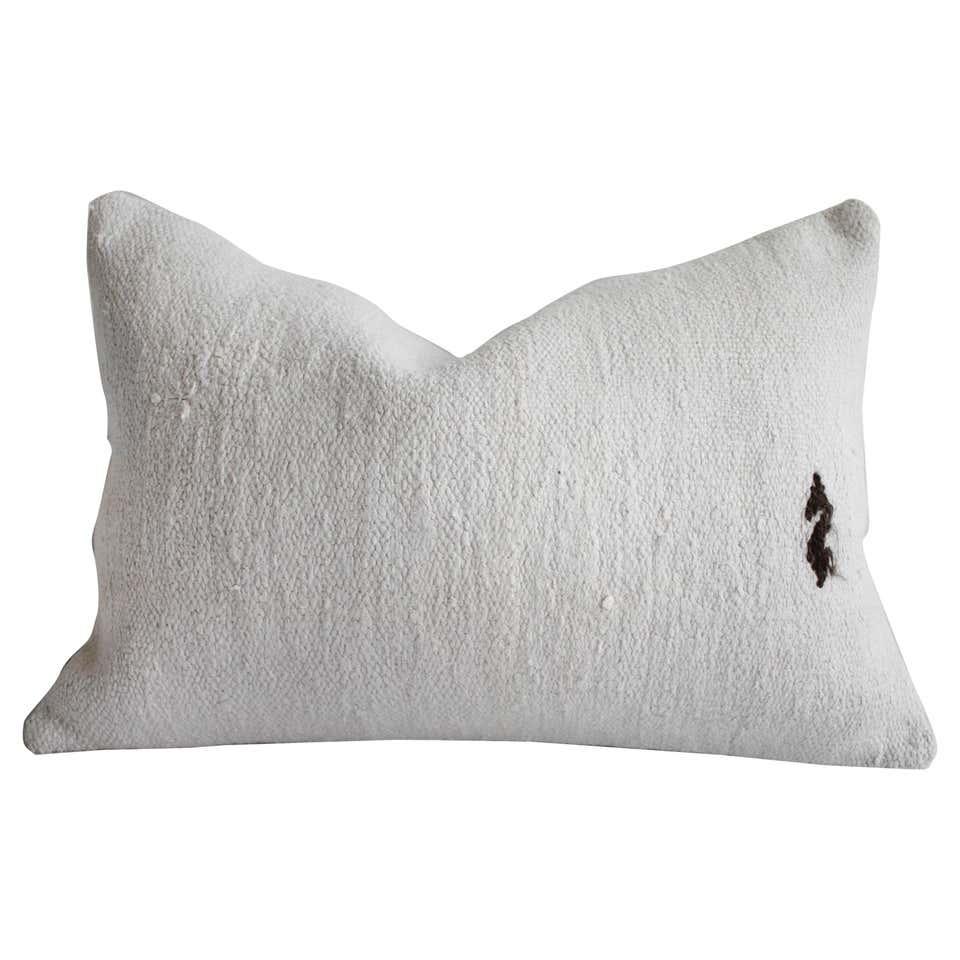 Vintage Turkish Off White Hemp Rug Lumbar Pillow