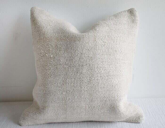 Vintage Turkish Rug Pillow Cover in Off White Woven Hemp