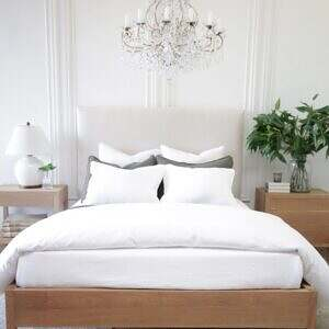 Upholstered Linen and Solid Oak Platform Bed in Queen or King