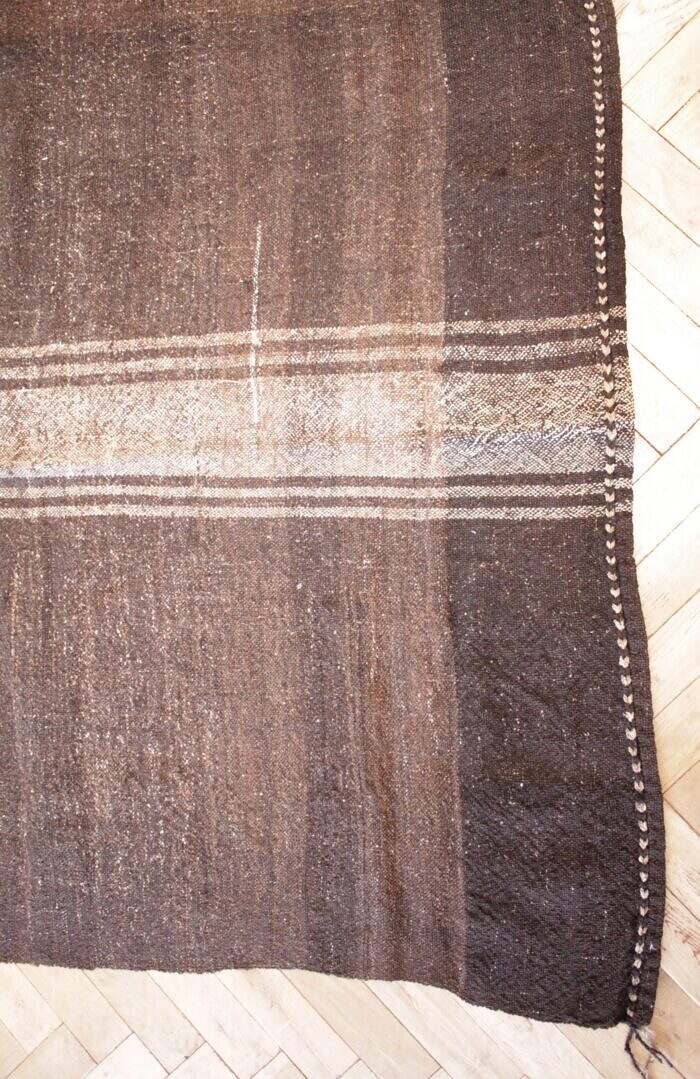 Vintage Turkish Rug in Cocoa Brown and Light Natural Stripes Double Wide